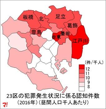 23区の犯罪発生状況に係る認知件数(2016年) (昼間人口千人あたり)