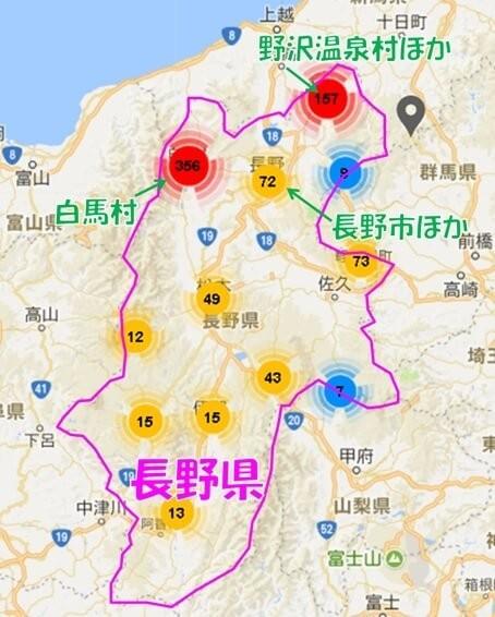 長野内のAirbnb登録物件の分布図