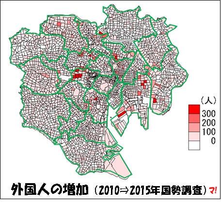 外国人の増加(2010⇒2015年国勢調査)