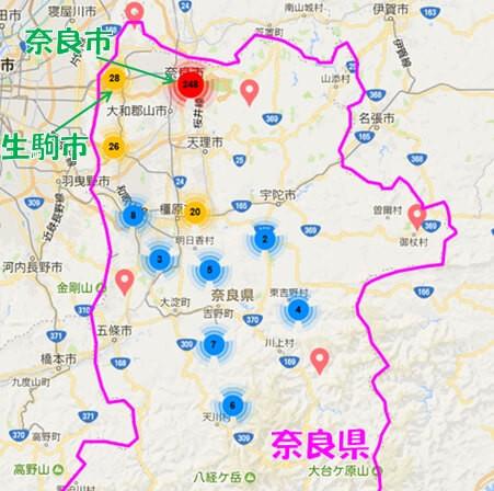 Airbnb登録件数の分布図(奈良県)