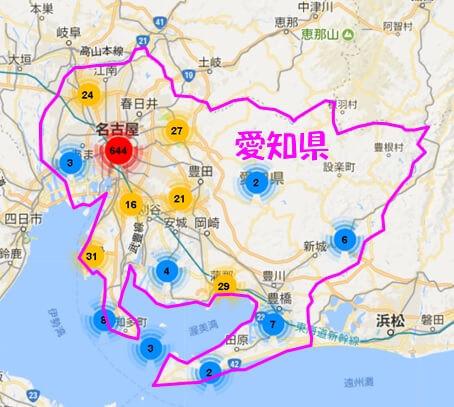 愛知県内のAirbnb登録物件の分布図