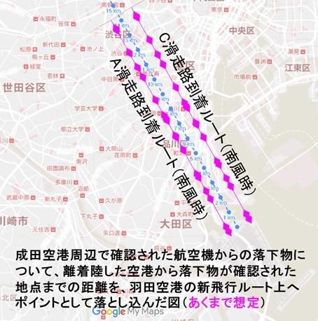 あくまでも、成田空港近辺で落下物が発見された地点の空港からの距離を機械的に新ルートに当てはめたもの