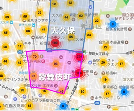 歌舞伎町と大久保に集中