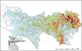 地震に関する地域危険度測定調査結果(東京都)
