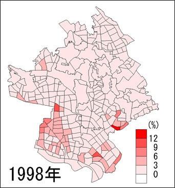 川口市外国人人口の割合(1998年)