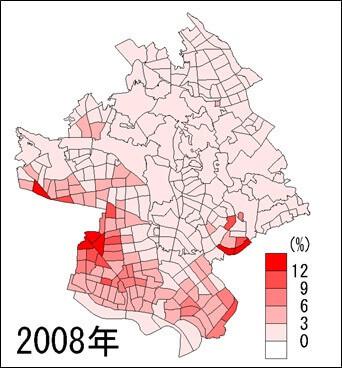 川口市外国人人口の割合(2008年)