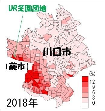 外国人占有率の分布図(2018年)