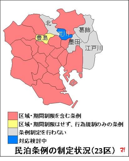 民泊条例の制定状況(23区)