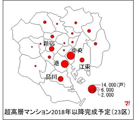 超高層マンション2018年以降完成予定(23区)