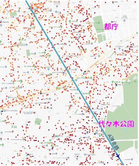 新宿・渋谷上空