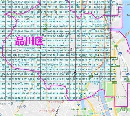 メッシュデータ(品川区の人口)