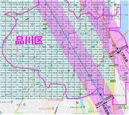 品川区の人口のメッシュデータに羽田新ルートを重ねた図