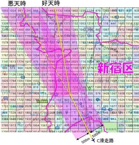 羽田新ルートは新宿区の西側上空を飛行する