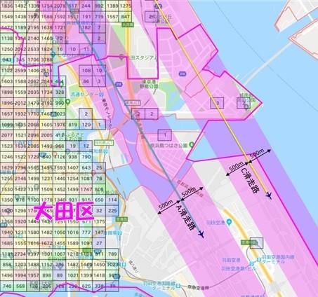 羽田新ルートは大田区の東側上空を飛行する