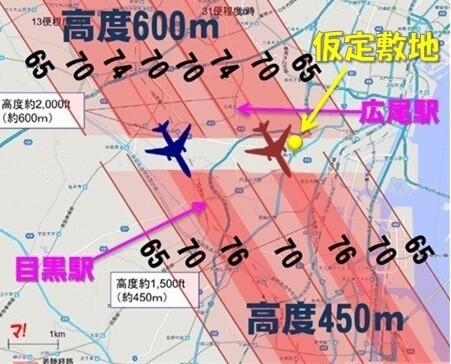広尾駅(港区)周辺の騒音分布図