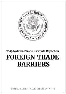 2019年米国通商代表(USTR)外国貿易障壁報告書