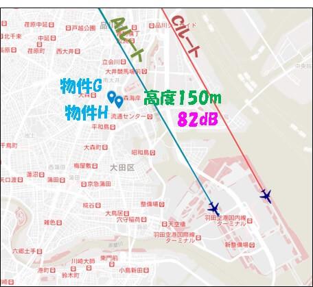 大田区内の物件G(1.2km)と物件H(1.1km)の配置