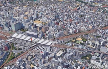 南側着陸ルート高度300mから新大阪駅周辺