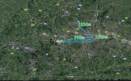 Google マップで見ると、ヒースロー空港への着陸ルート