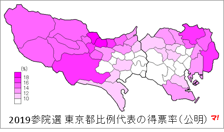 2019参院選 東京都比例代表の得票率(公明)