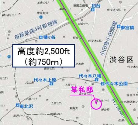 某私邸の近くを通過する着陸ルートの飛行高度は750m