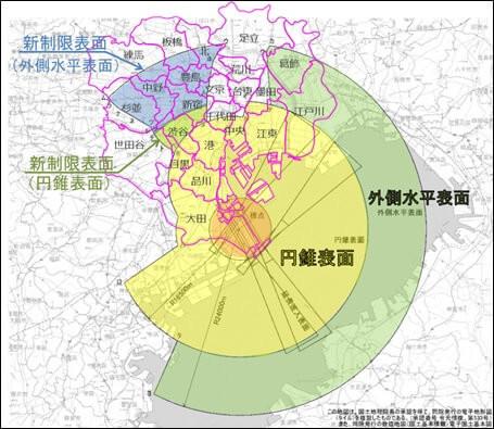 航空法に基づく東京国際空港の円錐表面及び外側水平表面の変更に関する告示(別図)