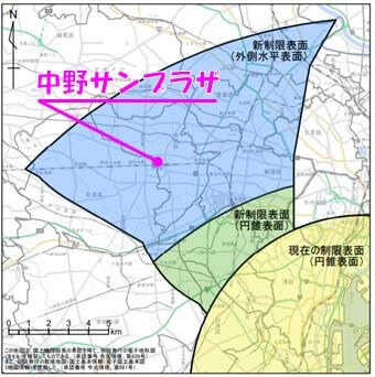 中野サンプラザは、羽田新ルートの運用に伴い新たに設定されようとしている「外側水平表面」のエリア内に建っている