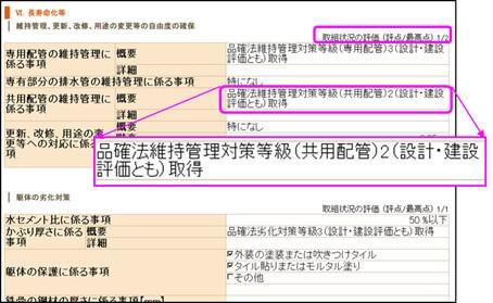 建物の長寿命化の評価内訳(建築物環境計画書)