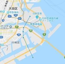 南風時、出発ルート(川崎市上空)