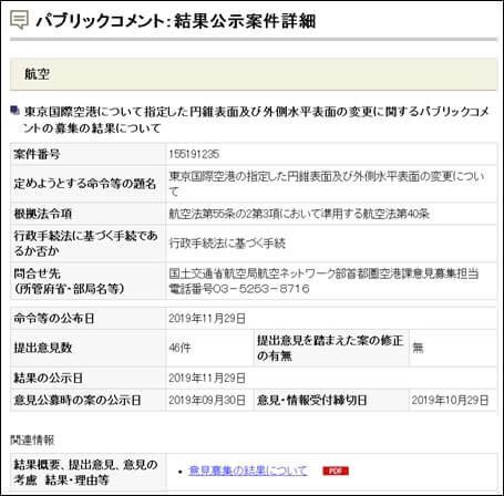 東京国際空港について指定した円錐表面及び外側水平表面の変更に関するパブリックコメントの募集結果