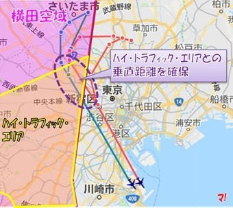 横田空域内のハイ・トラフィック・エリアとの垂直距離を確保