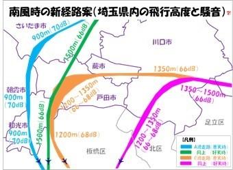 南風時の新経路案(埼玉県内の飛行高度と騒音)