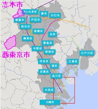 西東京市・志木市の位置図