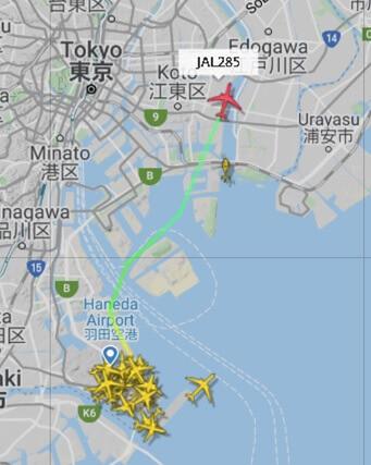 JAL285便(羽田17:15 →出雲18:45、B767-346ER機)