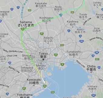 DL7便(ロサンゼルス⇒羽田)_羽田周辺拡大