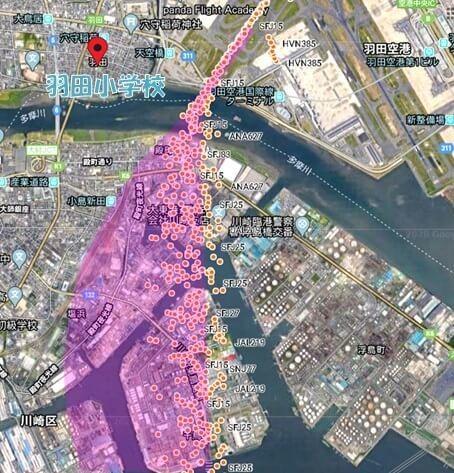 川崎区周辺を拡大した衛星画像に飛行経路
