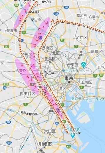 南風時到着ルートの航跡(2月2日)