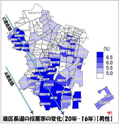 港区長選の投票率の変化(20年-16年)【男性】