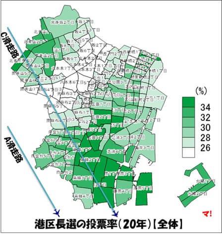港区長選の投票率(20年)【全体】