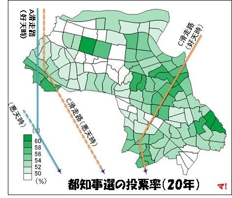 都知事選の投票率(20年)