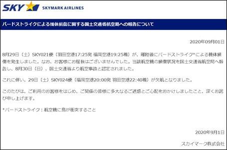 バードストライクによる機体損傷に関する国土交通省航空局への報告について|スカイマーク