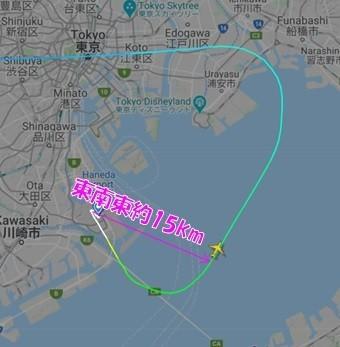 羽田空港の東南東約15キロメートル