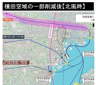 横田空域の一部削減後【北風時】