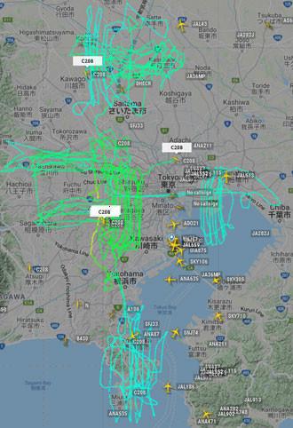 セスナ機による空撮状況(21年1月1日)
