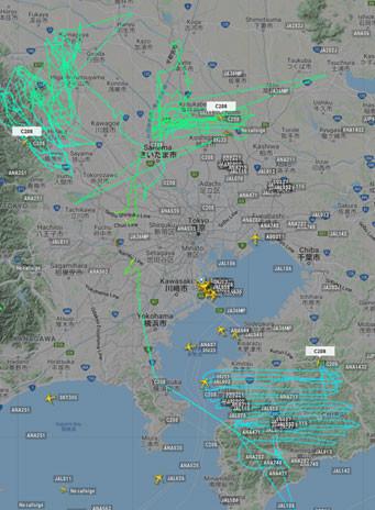 2機のセスナが埼玉県(日高市、越谷市・春日部市)と千葉県房総半島南部を飛行