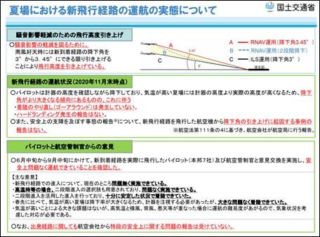 夏場における新飛行経路の運航の実態