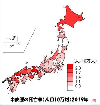 中皮腫の死亡率(人口10万対)2019年