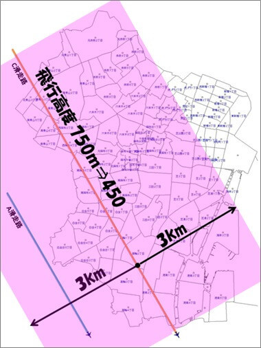 新ルート下3kmの範囲図(港区)