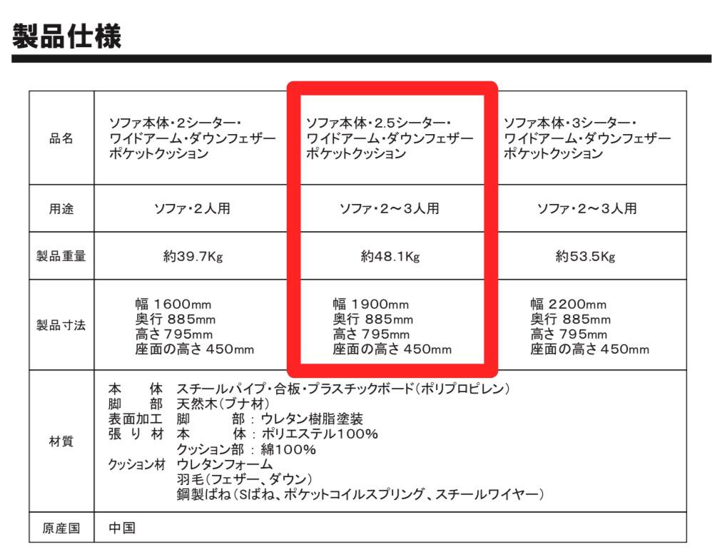 無印のダウンフェザー・ポケットコイルソファ 製品仕様(旧商品)