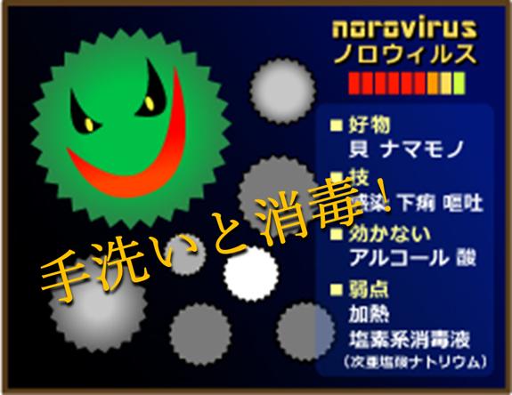ノロウィルスのイラストとその特徴が書かれたボードに撃退せよと書いてある